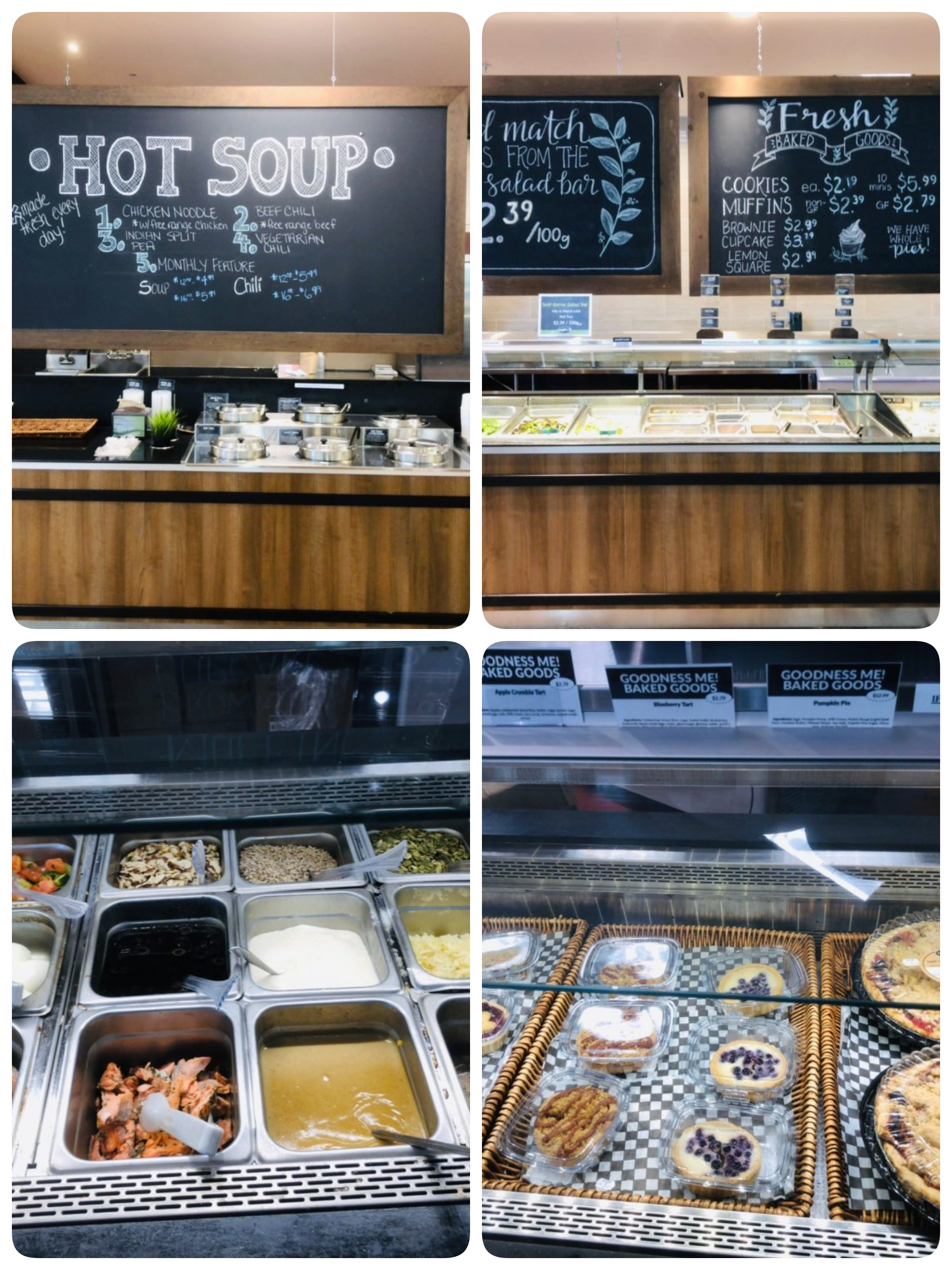 Soups ,salad bar and pizza etc